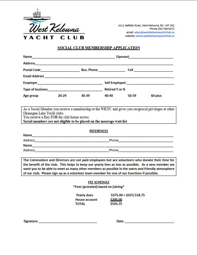 Social Member Application Form
