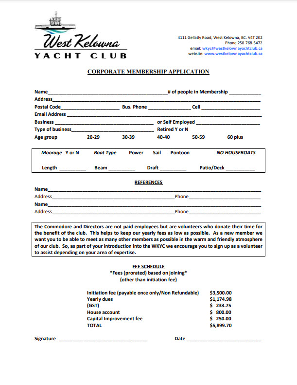 Corporate Member Application Form
