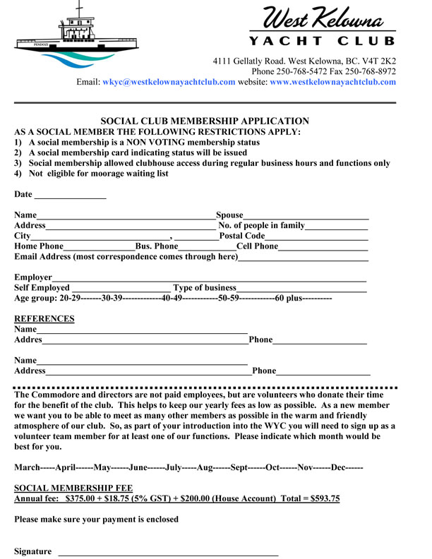 Social Member Application Form